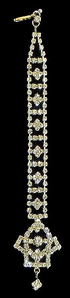 White Stone Studded and Gold Plated Mang Tika