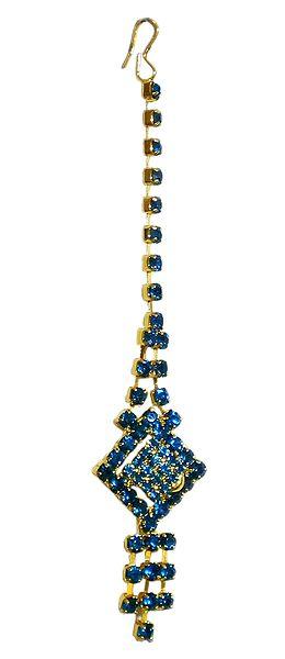 Cyan Blue Stone Studded Mang Tika