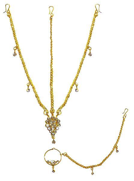 Gold Plated Matha Patti with Mang Tika and Nose Ring