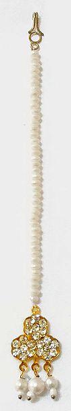 Faux Zirconia Stone Studded Mang Tikka with White Beads