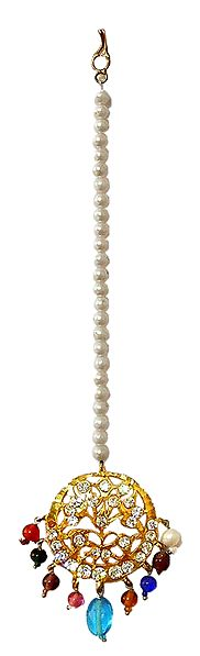 White Stone Studded Mang Tika with Multicolor Beads