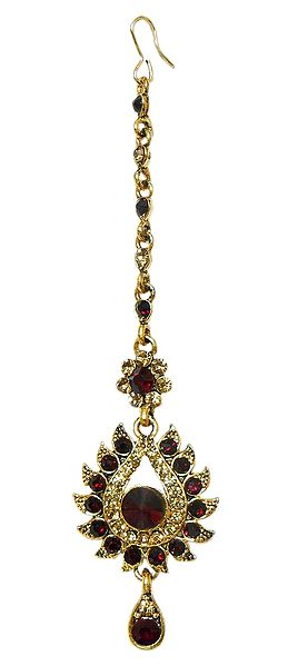 Faux Garnet and Citrine Mang Tika