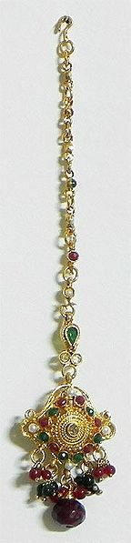 Maroon and Green Stone Studded Oxidised Metal Polki Mang Tika