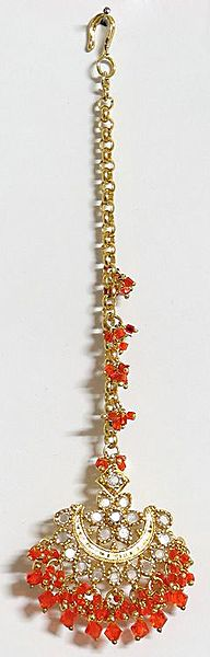 Saffron Bead with White Stone Studded Gold Plated Maang Tikka