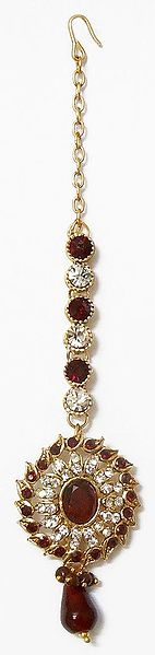 Faux Zirconia and Garnet Studded Mang Tika