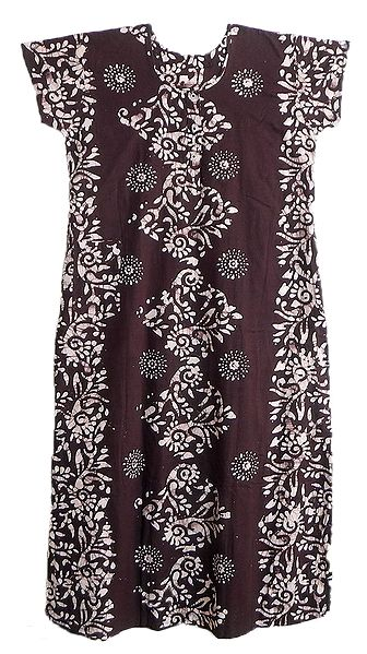 White Batik on Dark Maroon Cotton Maxi