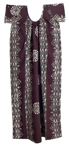 White Batik on Dark Brown Cotton Maxi