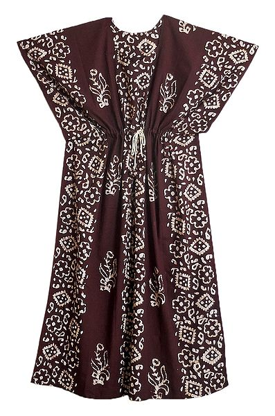 White Batik Print on Dark Maroon Cotton Kaftan