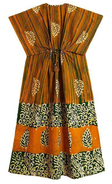 Yellow with Green Batik Print on Cotton Kaftan