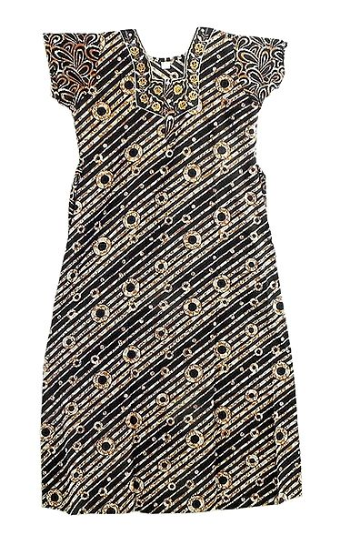 Embroidered Neckline with Brown Print on Black Cotton Maxi