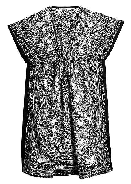 Black and White Print on Viscose Kaftan
