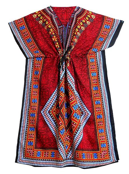Multicolor Print on Red Viscose Kaftan