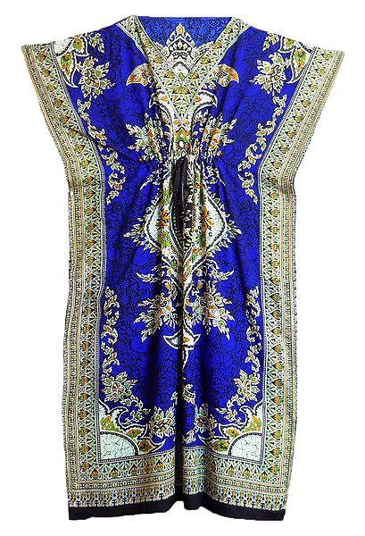 Multicolor Print on Blue Viscose Kaftan