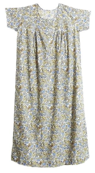Yellow with Blue Floral Print on White Lizzy Bizzy Maxi