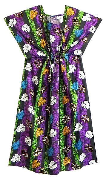 Multicolor Leaf Print on Cotton Kaftan