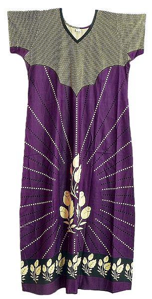 Off-White Print on Purple Cotton Maxi
