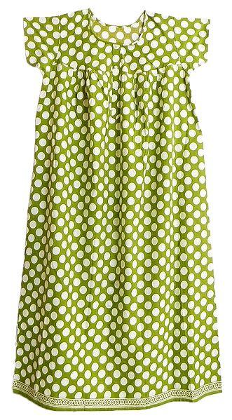 White Polka Dots on Green Cotton Maxi