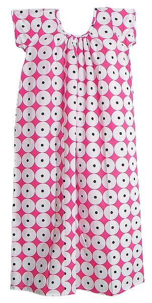 White Polka Dot on Pink Cotton Maxi