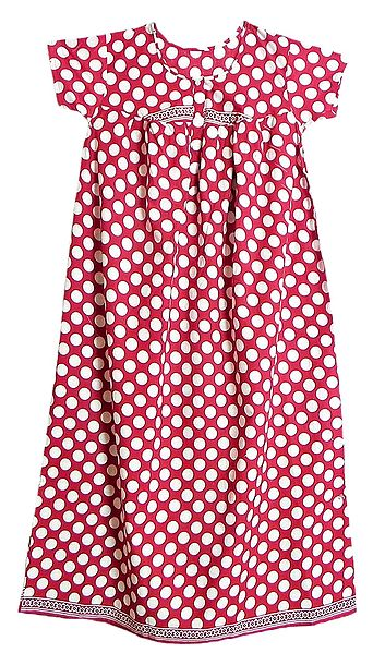 White Polka Dot on Dark Red Cotton Maxi