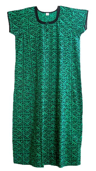Cyan and Black Print on Cotton Maxi