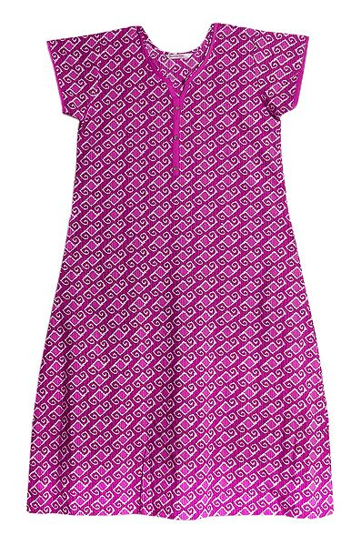 Magenta with White Print on Cotton Maxi