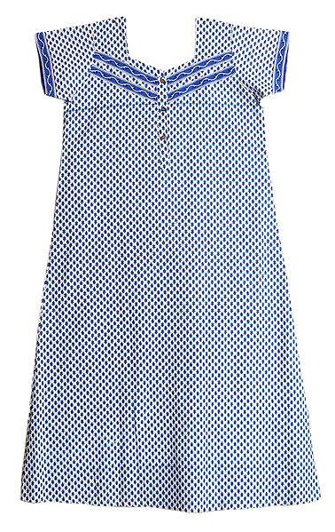 Blue Print on White Cotton Maxi