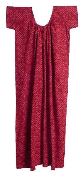 Print on Dark Red Cotton Maxi