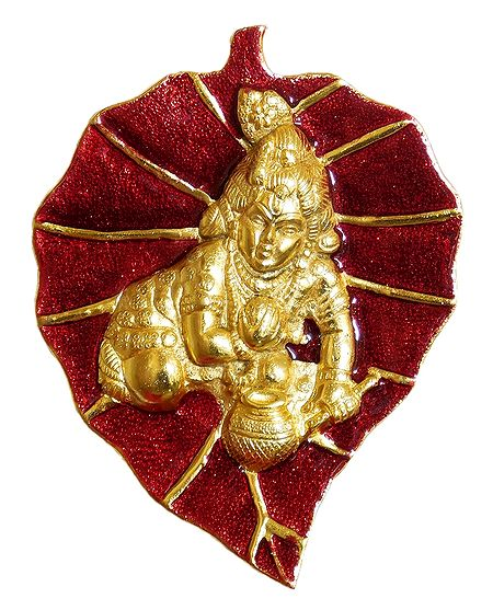 Bal Gopal on Red Leaf - Wall Hanging
