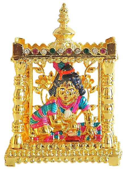 Lacquered Bal Gopala in Stone Studded Temple