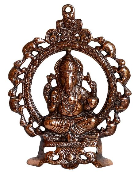 Ganesha on Throne - Wall Hanging with Stand