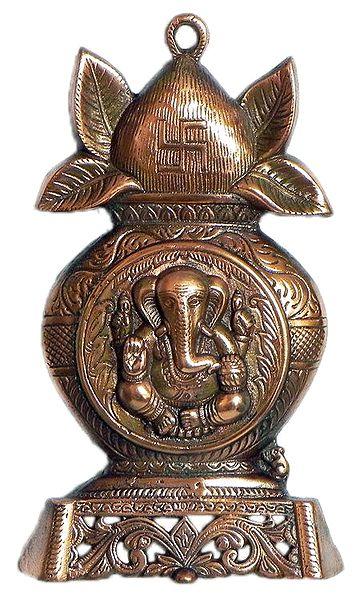 Ganesha on Kalash - Wall Hanging Cum Stand