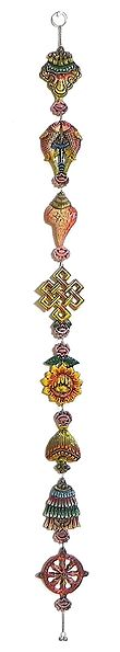 Coloful 8 Lucky Signs of Buddhism on White Metal - Wall Hanging
