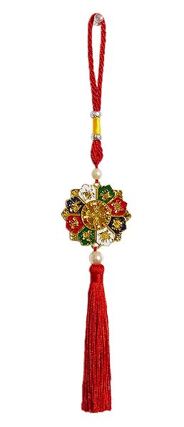 8 Buddhist Symbols on Red Tassel - Car Hanging