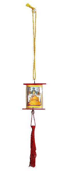 3 Faced Acrylic Box with Buddhist Pictures on Red Tassel