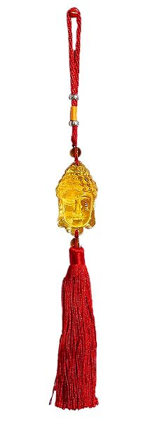 Yellow Crystal Buddha Face on Red Tassel