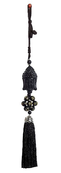 Black Stone Dust Buddha Face on Black Tassel
