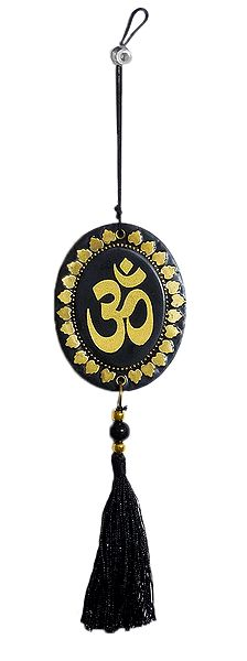 Golden Acrylic Om on Black Tassel - Car Hanging