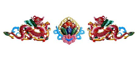 Two Red Dragon with Flower in the Middle - Wall Hanging