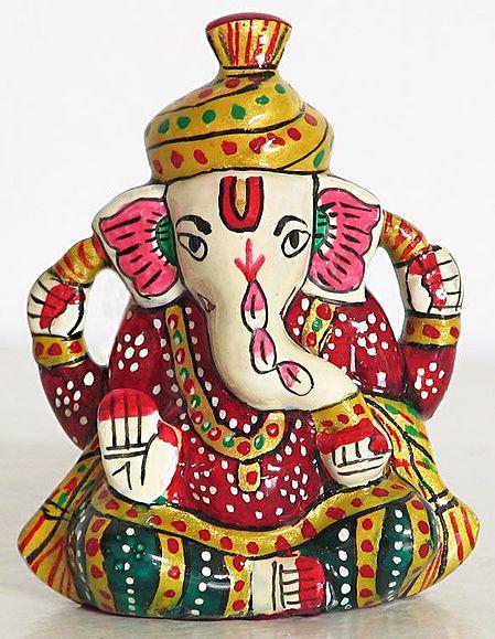 Colorful Laquered Maharashtrian Ganesha
