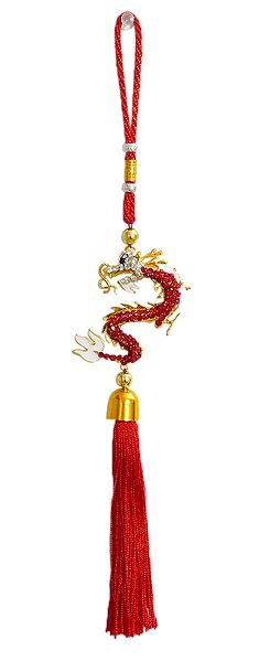 Red Stone Studded Dragon on Red Tassel
