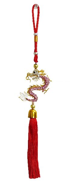Pink Stone Studded Dragon on Red Tassel
