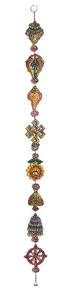 Multicolor 8 Lucky Signs of Buddhism on White Metal - Wall Hanging