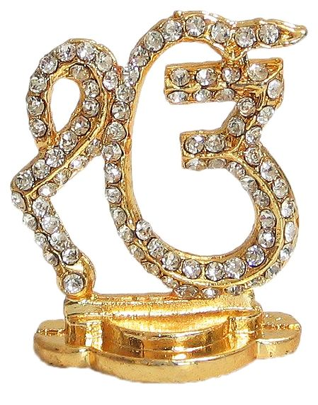 Stone Studded and Gold Plated Ek Omkara - Sikh Symbol