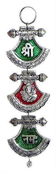 Sri, Ganesha and Namaha on Decorative Lacquered Metal Plate