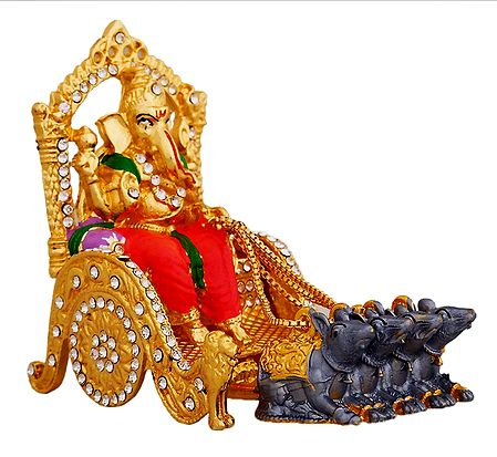Stone Studded Ganesha on Chariot - For Car Dashboard