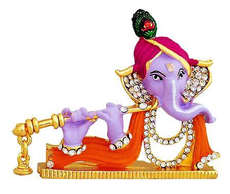 Stone Studded Ganesha Playing Flute - For Car Dashboard