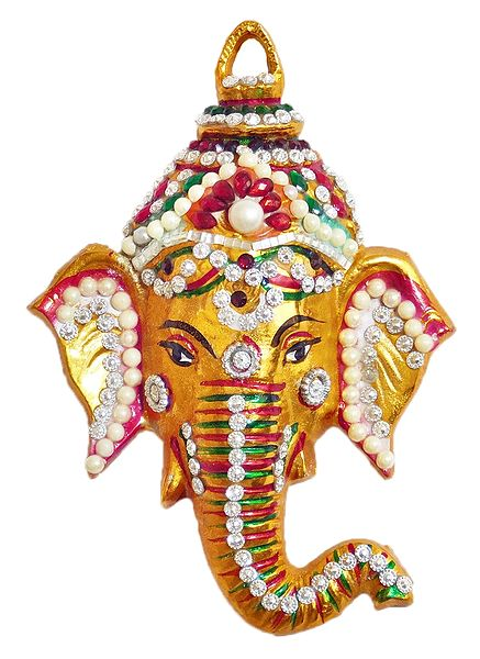 Stone Studded Ganesha Face - Wall Hanging
