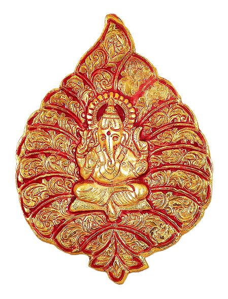 Red with Golden Ganesha on Leaf - White Metal Wall Hanging
