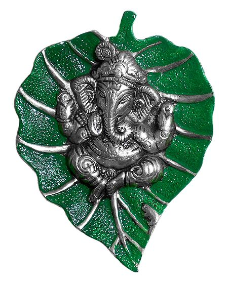 Ganesha on Green Leaf - Wall Hanging