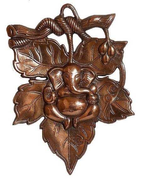 Ganesha on Leaf - Wall Hanging